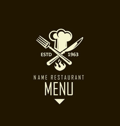 Crossed knife fork and chef hat vector