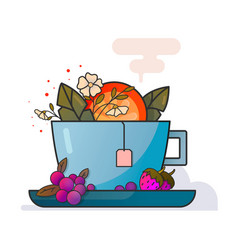 cup of tea with fruits and flowers art vector image