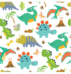 Cute dino seamless pattern vector