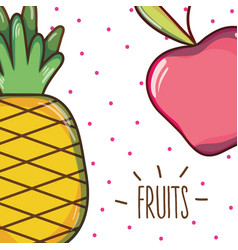 Delicious and fresh tropical apple and pineapple vector