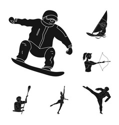 different kinds of sports black icons in set vector image