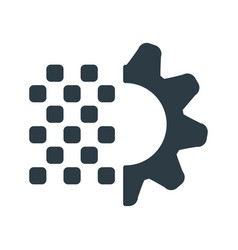 digital gear with editable stroke icon techno vector image