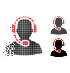 Dispersed pixel halftone call center operator icon vector