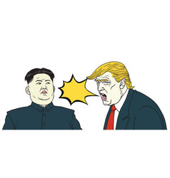 donald trump vs kim jong un cartoon vector image