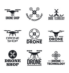 drone logo set simple style vector image