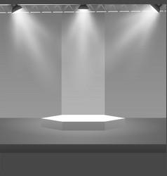 empty stage podium with spotlights in blank studio vector image