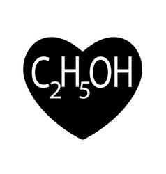 ethanol or alcohol ethyl is found in black heart vector image