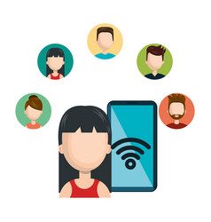 female avatar smartphone connected social network vector image