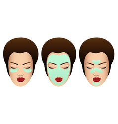 female faces with various beauty masks vector image