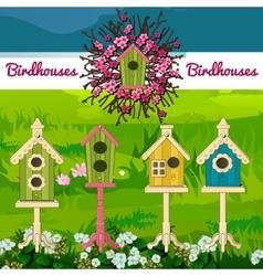 Five birdhouses on a landscape background vector image
