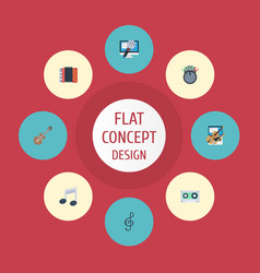Flat icons tape tone symbol fiddle and other vector