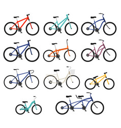flat style bicycles different types set vector image