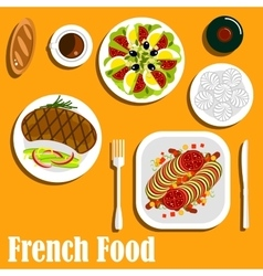 French cuisine main course and desserts vector