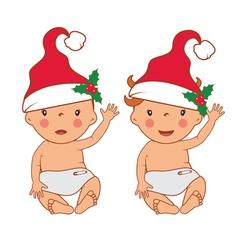 Funny smiling little babies in santas hat vector