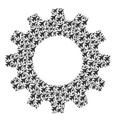 Gear wheel mosaic of jet fighter icons vector