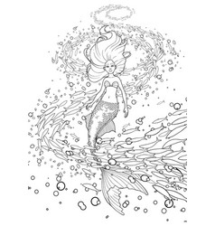Graphic mermaid under the ocean surface vector