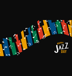 Happy jazz day banner of colorful piano keys vector