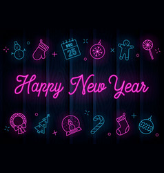 happy new year neon vector image