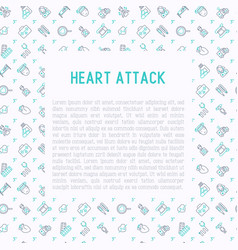 Heart attack concept with thin line icons vector