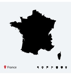 High detailed map of France with navigation pins vector