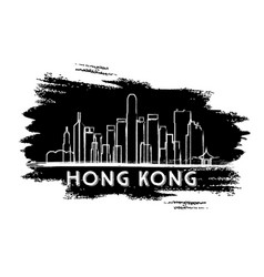 Hong kong skyline silhouette hand drawn sketch vector