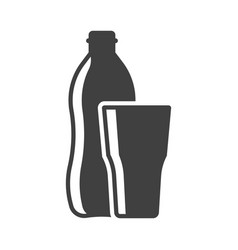 icon of a bottle of water with a glass on vector image