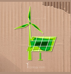 Icon of windmill and solar battery vector