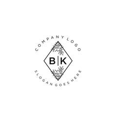 Initial bkb letters beautiful floral feminine vector