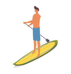Isometric man on sup surfboard stand up paddle vector