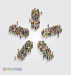 Large group people in modern star shape vector