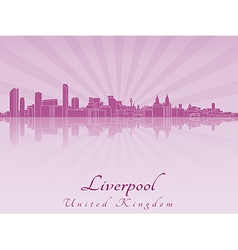 Liverpool skyline in purple radiant orchid vector image