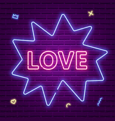 love neon glowing text valentines day vector image