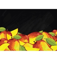 Mango fruit composition on chalkboard vector
