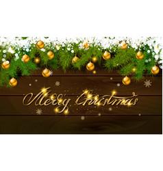 Merry christmas panoramic banner golden text vector