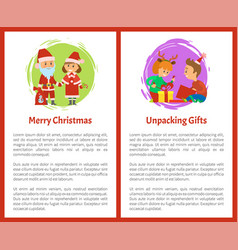 Merry christmas wishes santa claus and snow maiden vector
