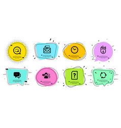 Message yummy smile and scroll down icons set vector
