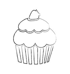 monochrome blurred contour of cupcake with vector image