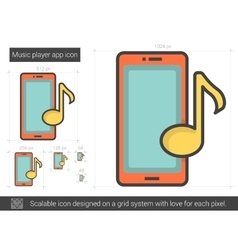 Music player app line icon vector