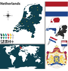 Netherlands map world vector