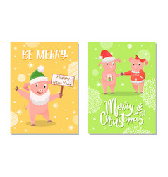 new year piglets couples and card wishes vector image