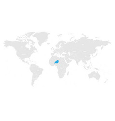 Niger marked by blue in grey world political map vector
