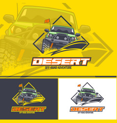 Off-road car logo in three versions on a yellow vector