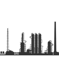Oil refinery or chemical plant silhouette vector image
