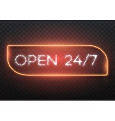 Open 24 Hours Glowing Neon Frame vector