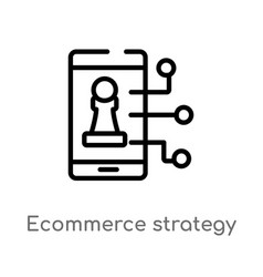 Outline ecommerce strategy icon isolated black vector
