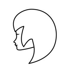 Outline head woman female icon vector