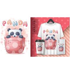 Panda in cup - poster and merchandising vector