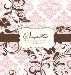 Pink vintage damask invitation card vector