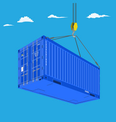 port crane lifts blue container perspective view vector image