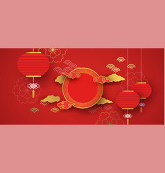 Red and gold papercut chinese background template vector